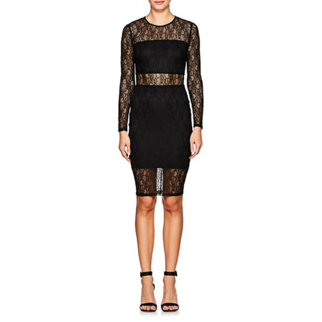 Item - Black Aj343-lace Fitted Sheath Mid-length Cocktail Dress Size 4 (S)