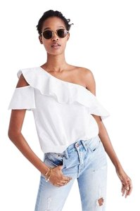 246cc47f6fbd24 Madewell Top White. Madewell White Ruffle One Shoulder Blouse Size ...