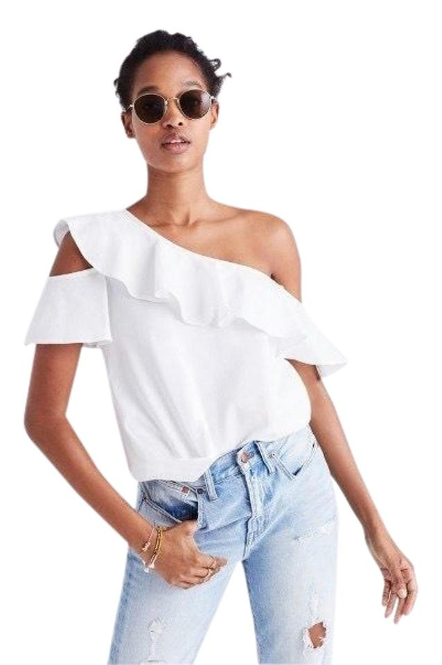 37d4dfed1fe Madewell White Ruffle One Shoulder Blouse Size 0 (XS) - Tradesy