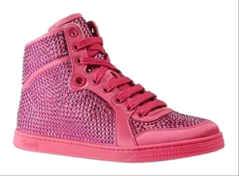 8d0ce7ce602 Gucci Bright Pink Women s Satin Fabric Crystal Stud High Top ...