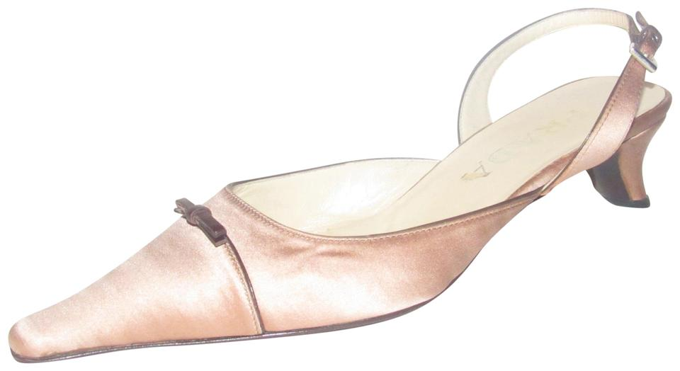 0911089d23 Prada Pink Satin and Brown Leather Shoes/Designer Pumps Size EU 37 (Approx.  US 7) Regular (M, B)