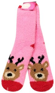 jenni by jennifer moore Jenni By Jennifer Moore Pink Women's Reindeer Socks Size 6-10