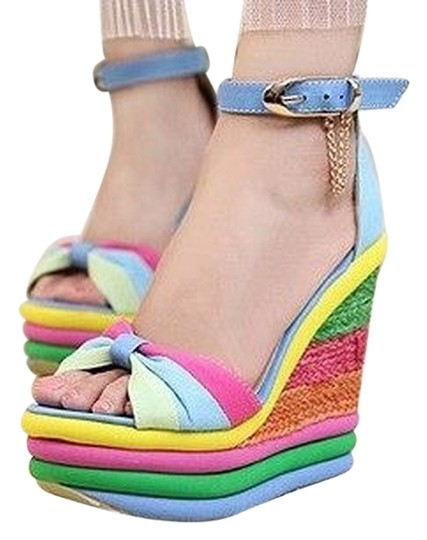 Preload https://img-static.tradesy.com/item/2372362/rainbow-colorful-stripe-wegde-sandal-wedges-size-us-65-regular-m-b-0-0-540-540.jpg
