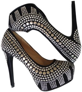 Two Lips Studded Pump Black/Silver Platforms