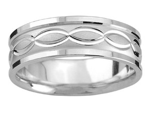 Apples of Gold Swiss-cut Infinity In White Women's Wedding Band