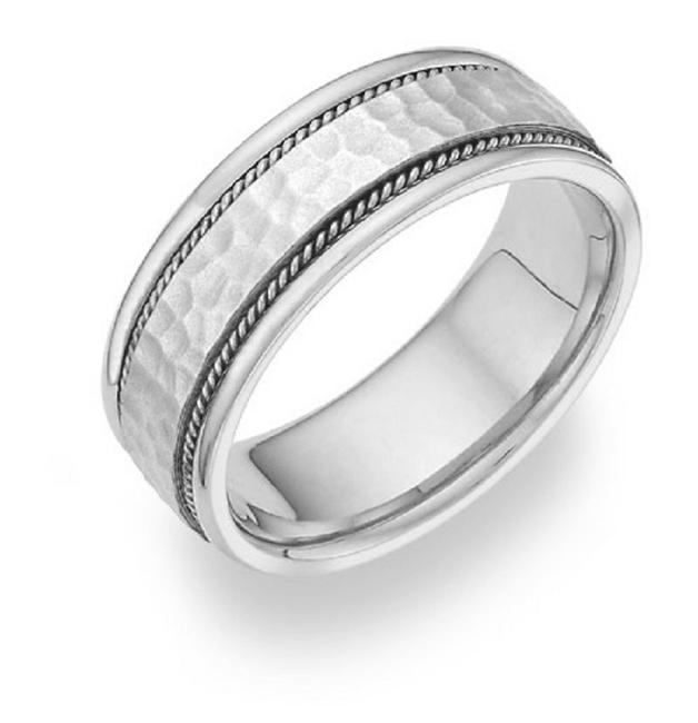 Item - Sterling Silver Brushed Hammered Ring Women's Wedding Band