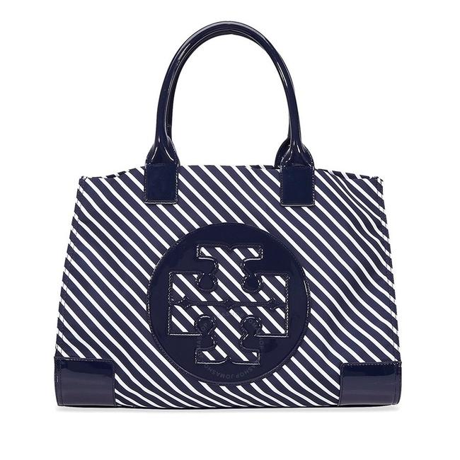 Item - Ella Large Striped Blue and White Nylon Tote