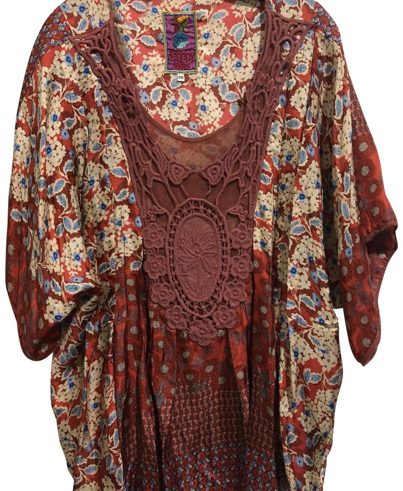 Johnny Was Rust With Color Hand Stitched Light Weight Tunic Size 22