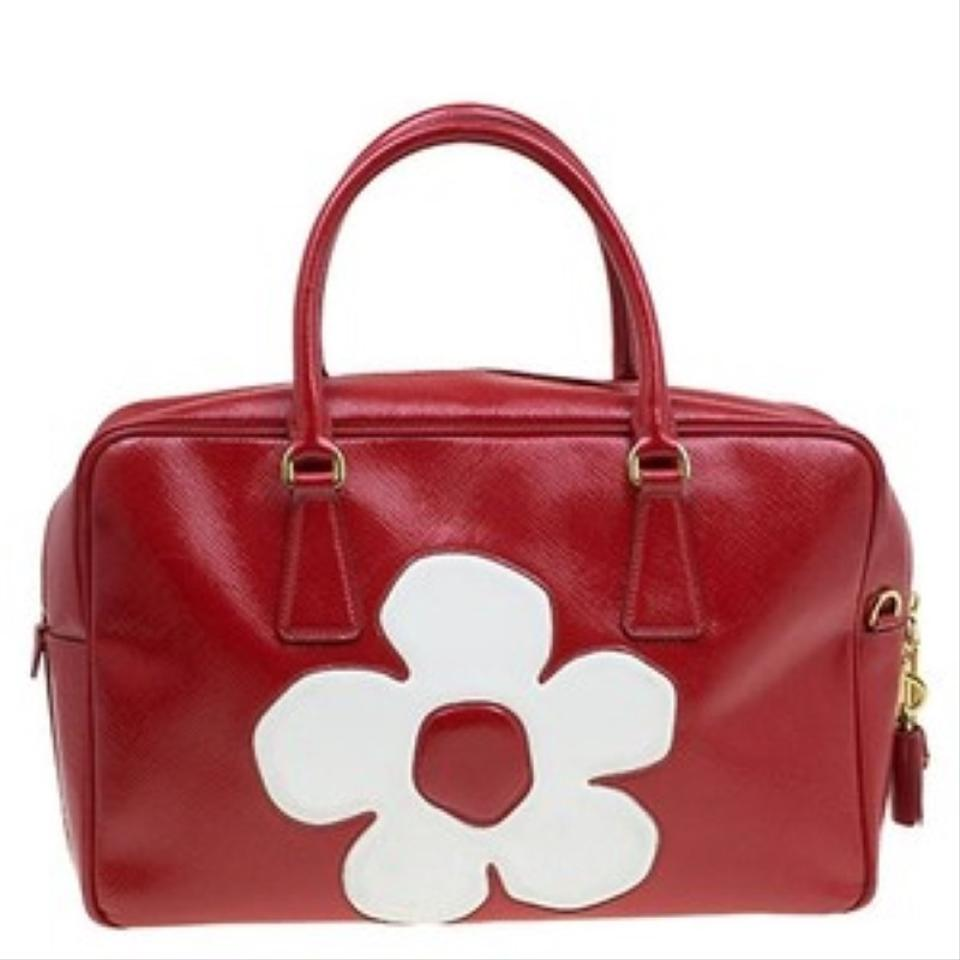 Leather Red Flower Vernice Bauletto Saffiano Patent To Prada Tote White n481wqSa4W