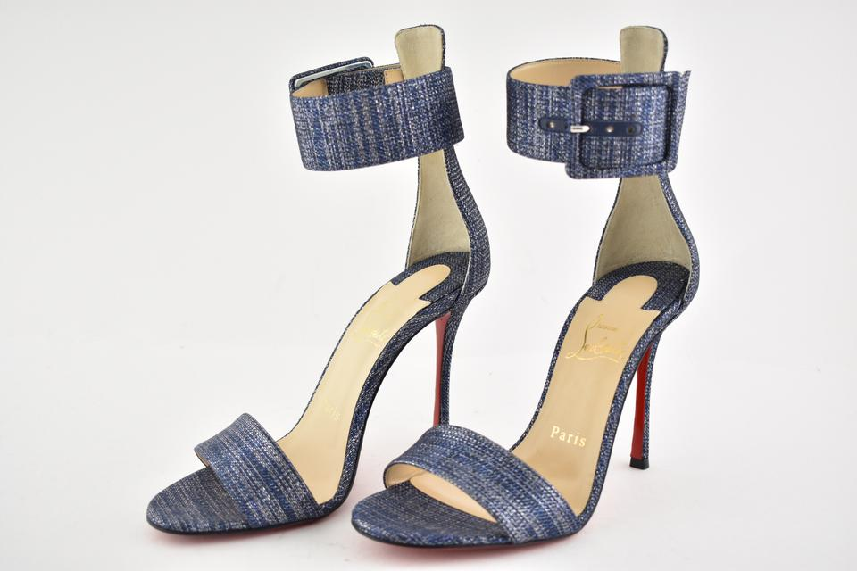 cc8bee9836ba Christian Louboutin Stiletto Ankle Strap Pigalle Runana Blade blue Pumps  Image 11. 123456789101112