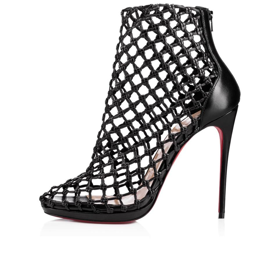 Porligat 120 Black Louboutin Platform Christian Heels Boots Booties Ankle Leather Caged q1aOtE