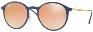 Ray-Ban New Ray Ban Unisex Round Sunglasses RB4224 872/B9 Blue Frame Pink Lens