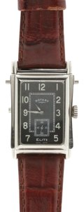 Rotary Watches Rare Mens Elite Reverso Stainless Steel and Leather Analog Wristwatch