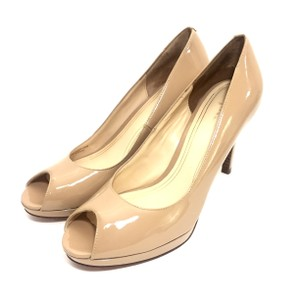 Cole Haan Patent Leather Peep Toe Nude Platforms