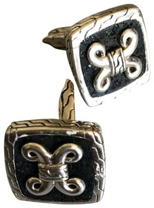 John Hardy John Hardy Sterling Silver and Black Lava Cuff Links