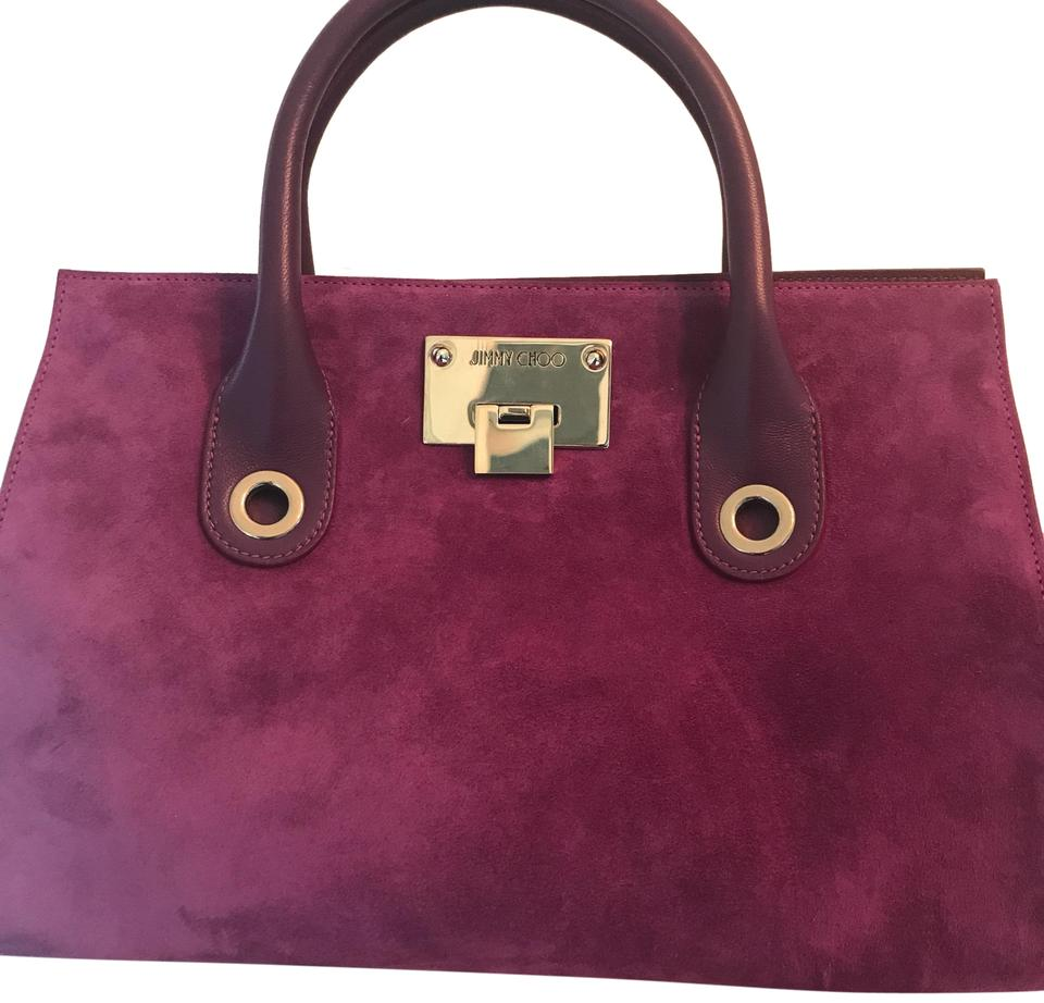 fa9d1302c3 Jimmy Choo The Riley Tote Purple Suede Leather Satchel - Tradesy