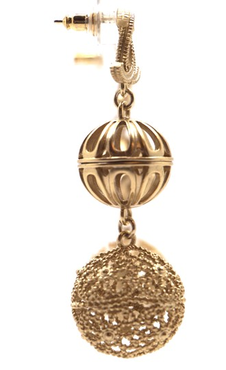 Chanel Rare and Exquisite CC cutout ball gold dangle pierced stud earrings Image 6