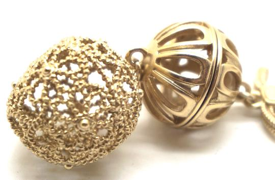Chanel Rare and Exquisite CC cutout ball gold dangle pierced stud earrings Image 7