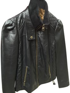 Steve Madden Leather Puff Sleeve Leather Black Jacket