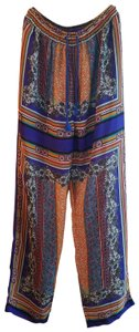 KAS New York Drawstring Summer Beach Resort Casual Relaxed Pants Blue multi