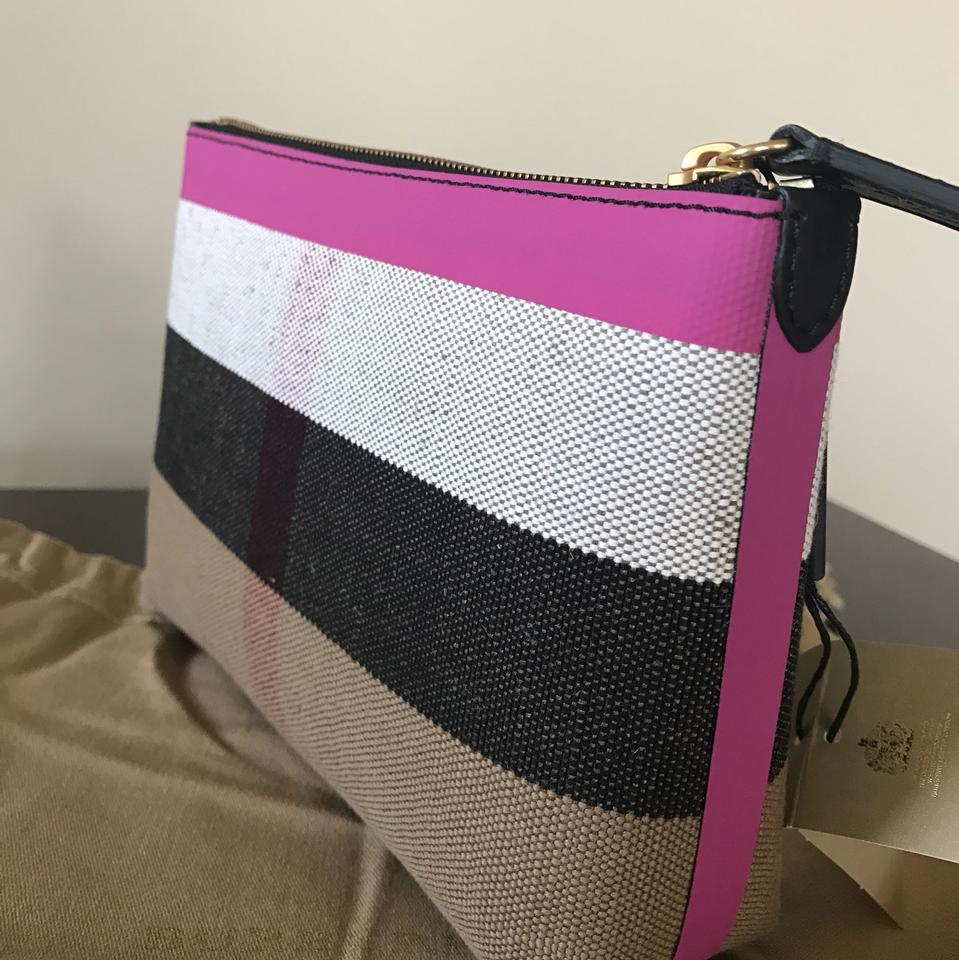 1f8d2379b369 Burberry Duncan Medium Canvas Check Black Pink Black Pink Clutch ...