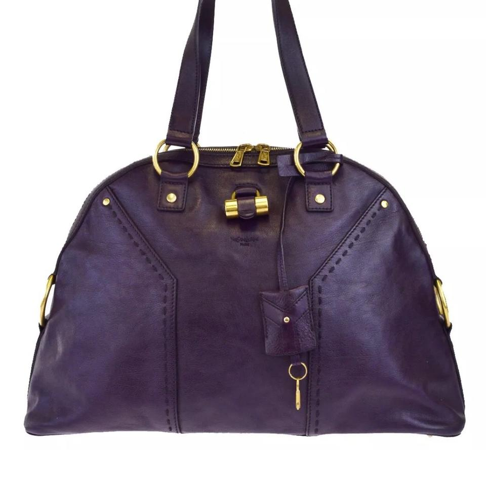 Laurent Purple Saint Leather Bag Yves Shoulder 8wxxEd4qC