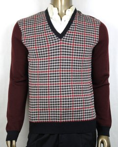 Gucci Wine/Beige/Black XL Wine/Beige/Black Cashmere/Wool Checkered Sweater 429815 5040 Groomsman Gift