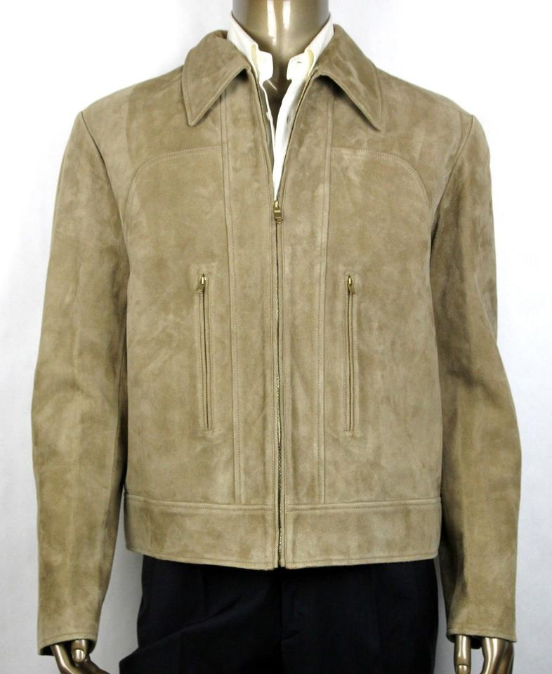 09db7f258 Gucci Beige Goat Suede Leather Blouson Zip Up Jacket 56r/Us 46r 408369 2602  Groomsman Gift