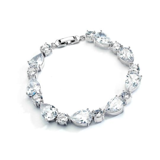 Silver/Rhodium Stunning Luxe Crystal Pears Rounds Crystal Bracelets