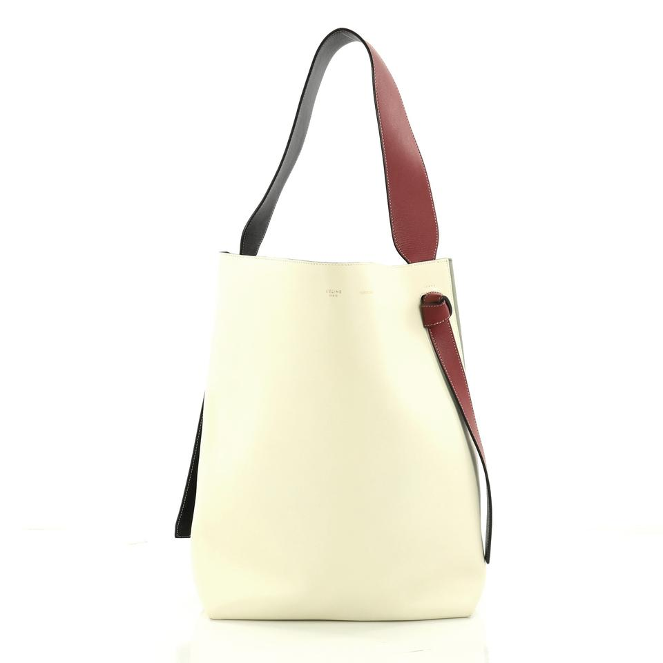 8f82b180c5fa40 Céline Cabas Off Green Small and Calfskin Tote Leather White Twisted  rxwtHqar ...