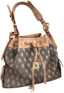 Dooney & Bourke Canvas Leather Hobo Tote in Brown and Gray with Red Stitching