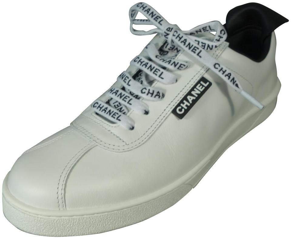 a9f986b4f7cb5 Chanel White Black Sold Out Leather Lace Up Weekend Trainers Tennis ...