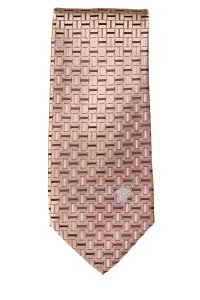 Versace Versace men's gold and lavender silk geometric print tie NWOT