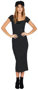 Amuse Society short dress Black and Off White Striped Boho Bohemian Bodycon Fitted on Tradesy