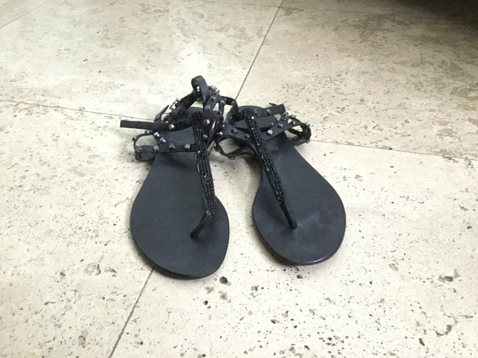 1339e4ab3752 Vince Camuto Black Jemile Strappy Studded Thong Sandals Size US 7 ...