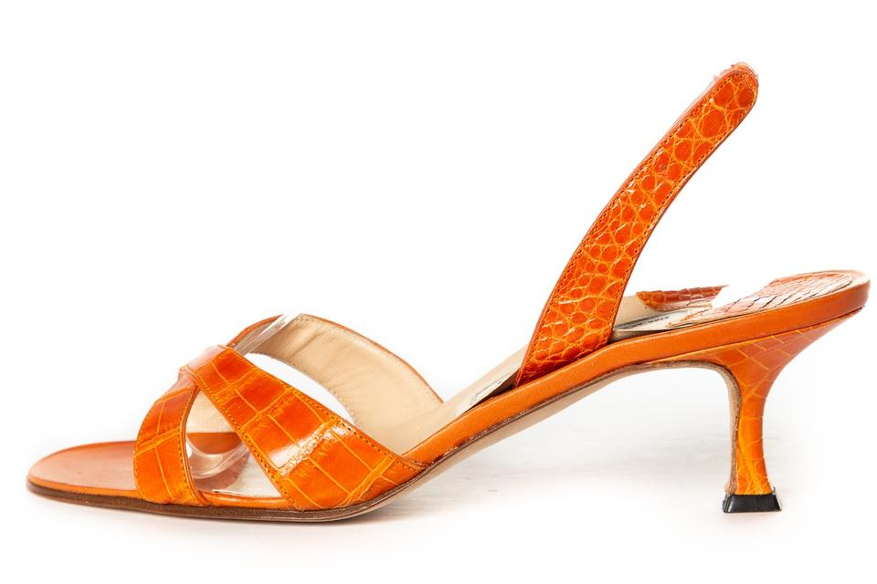 7f34397b315bf Manolo Blahnik Orange Crocodile Slingbacks Sandals Size EU 38.5 ...