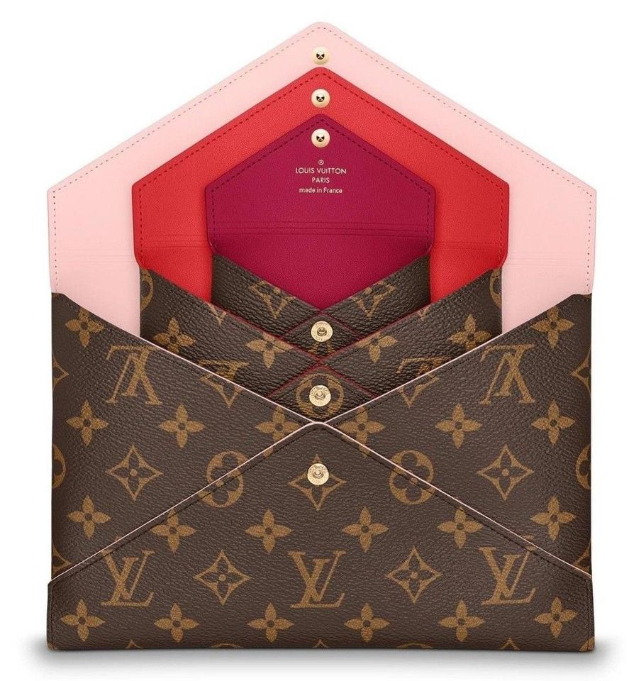 37144d76a6fb Louis Vuitton New 3 Pc Set Pouch Box Monogram Pink Red Lv Coated ...
