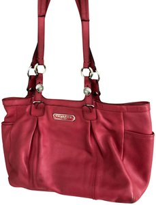 Coach Leather Tote Satchel in Pink