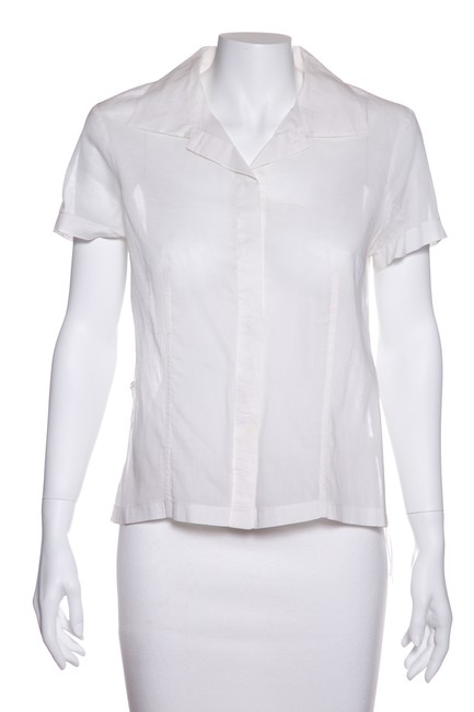 Item - White Woven Blouse Button-down Top Size 8 (M)