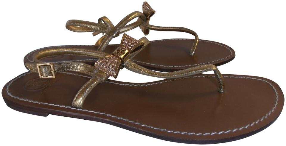 Tory Burch Gold T Bow/Logo Metallic Leather T-strap 10m Bow/Logo T Sandals 6bfe24