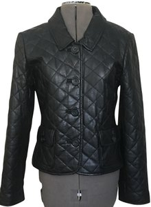 Kenar Quilted Button Front Long Sleeve Leather Jacket