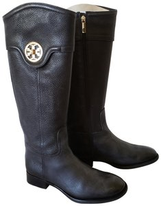 Tory Burch Gold Hardware Reva Logo Riding Selma Black Boots