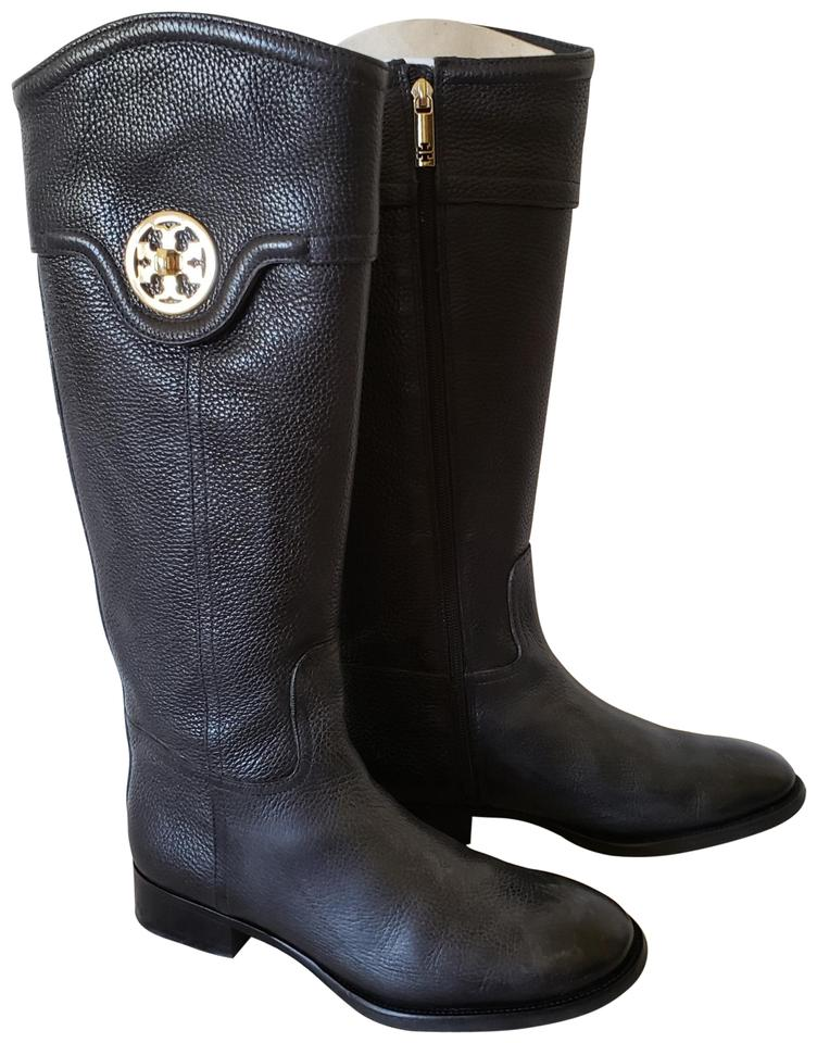 04e018dad636 Tory Burch Black Pebbled Leather Selma Riding Boots/Booties Size US ...