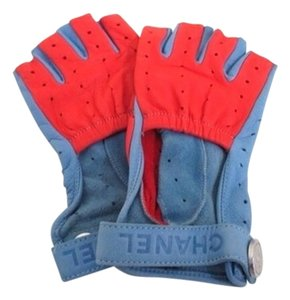 Chanel Chanel Lambskin Leather Blue And Red Motorcycle Gloves Sz 7.5 CCJY10 164420