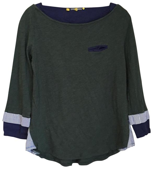 Preload https://img-static.tradesy.com/item/23726450/anthropologie-green-blue-little-yellow-button-cotton-boatneck-tee-shirt-size-2-xs-0-1-650-650.jpg