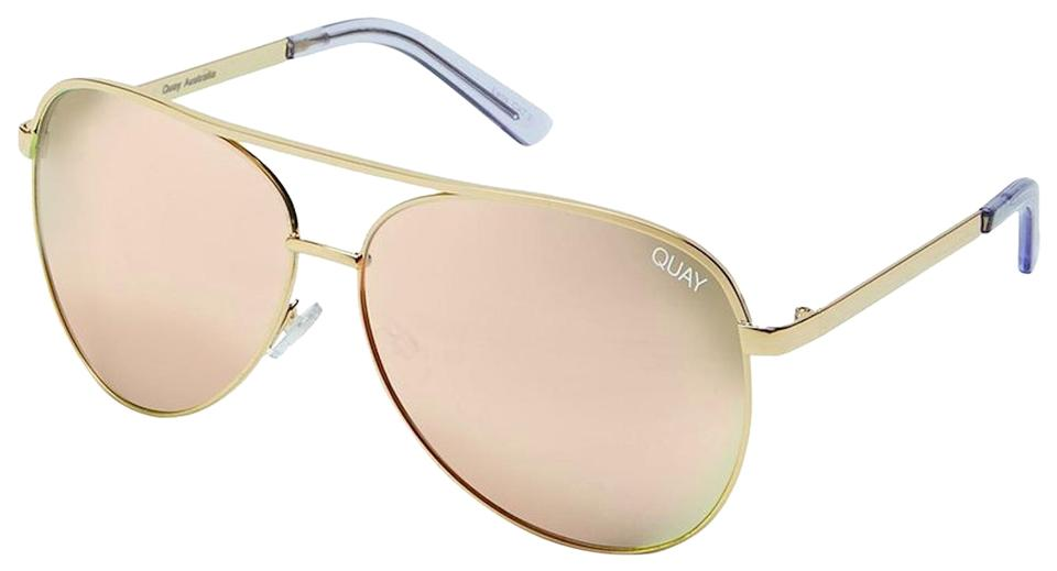 4678a938ea Quay Gold - Pink Rose Mirror Vivienne Large Aviator Free 3 Day Shipping Oversized  Sunglasses