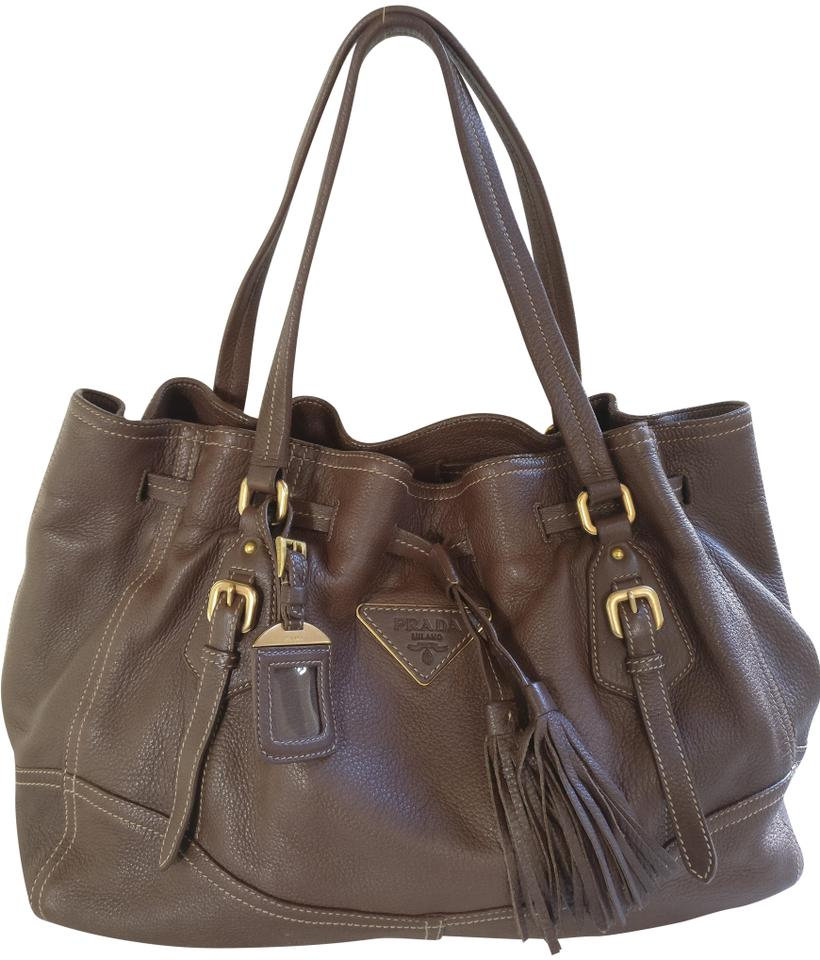 eb63a1a1cc14 Prada Cervo Deerskin Drawstring Brown Leather Tote - Tradesy