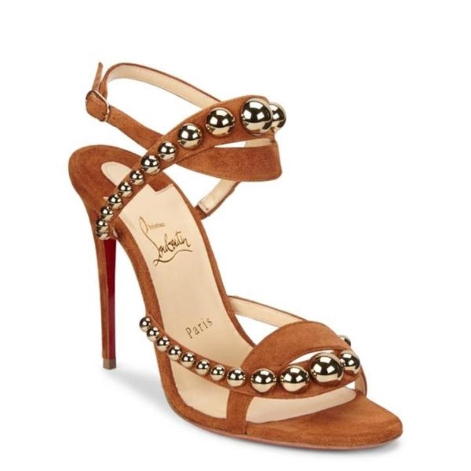 Christian Louboutin Brown Gold New Galeria 100 Veau Velours Velours Velours Pumps f07c82