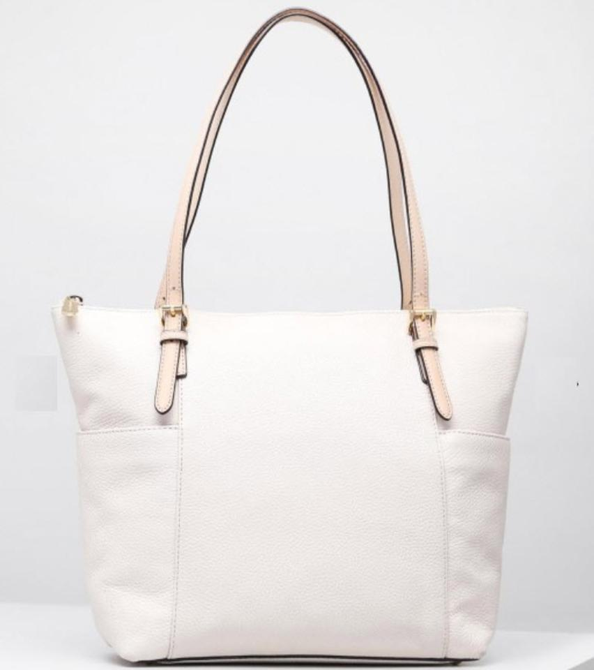 3bcfa161e958 Michael Kors Jet Set East West Top Zip White Lether Tote - Tradesy