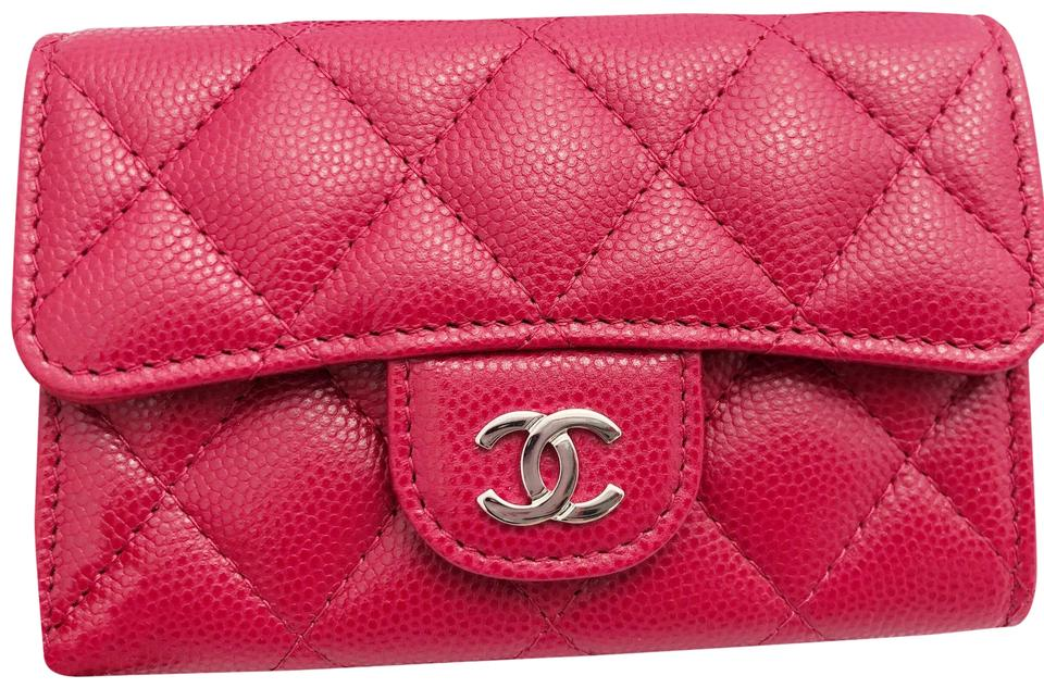 5b609971ff2d Chanel Chanel Caviar Flap Flat O Card Holder O Case Wallet 18B Dark Pink  Red Image ...